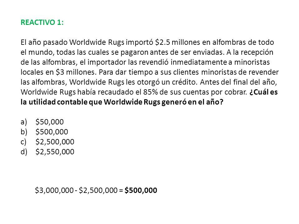 REACTIVO 1: El año pasado Worldwide Rugs importó $2.5 millones en alfombras de todo el mundo, todas las cuales se pagaron antes de ser enviadas. A la