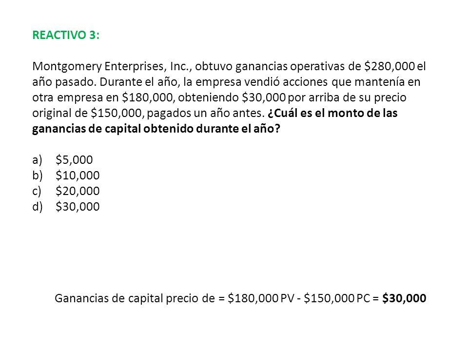 REACTIVO 3: Montgomery Enterprises, Inc., obtuvo ganancias operativas de $280,000 el año pasado. Durante el año, la empresa vendió acciones que manten