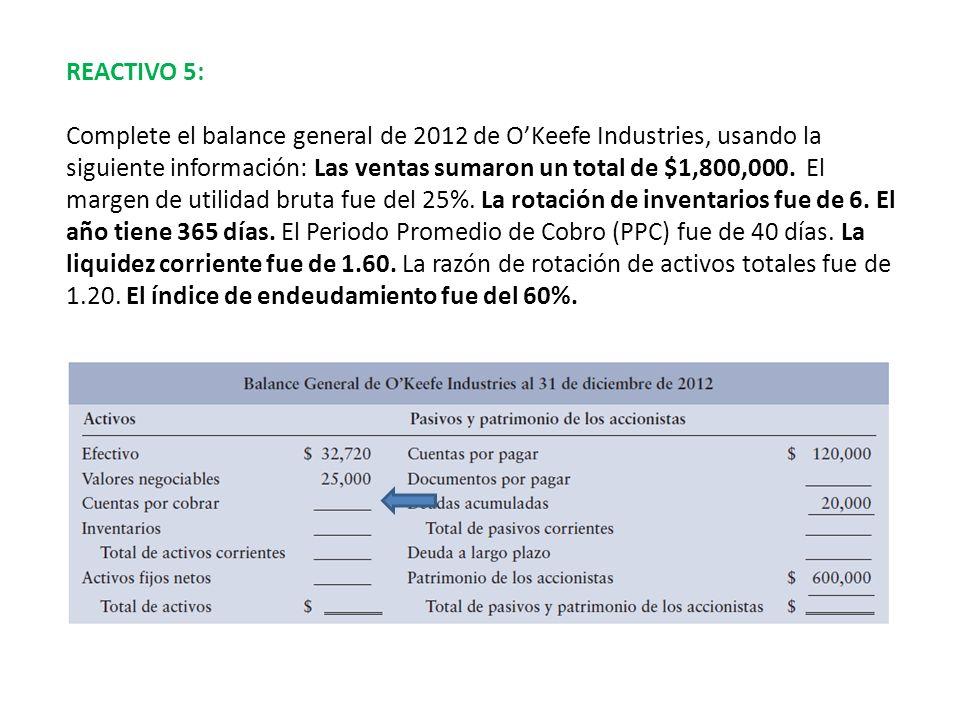 REACTIVO 5: Complete el balance general de 2012 de OKeefe Industries, usando la siguiente información: Las ventas sumaron un total de $1,800,000. El m