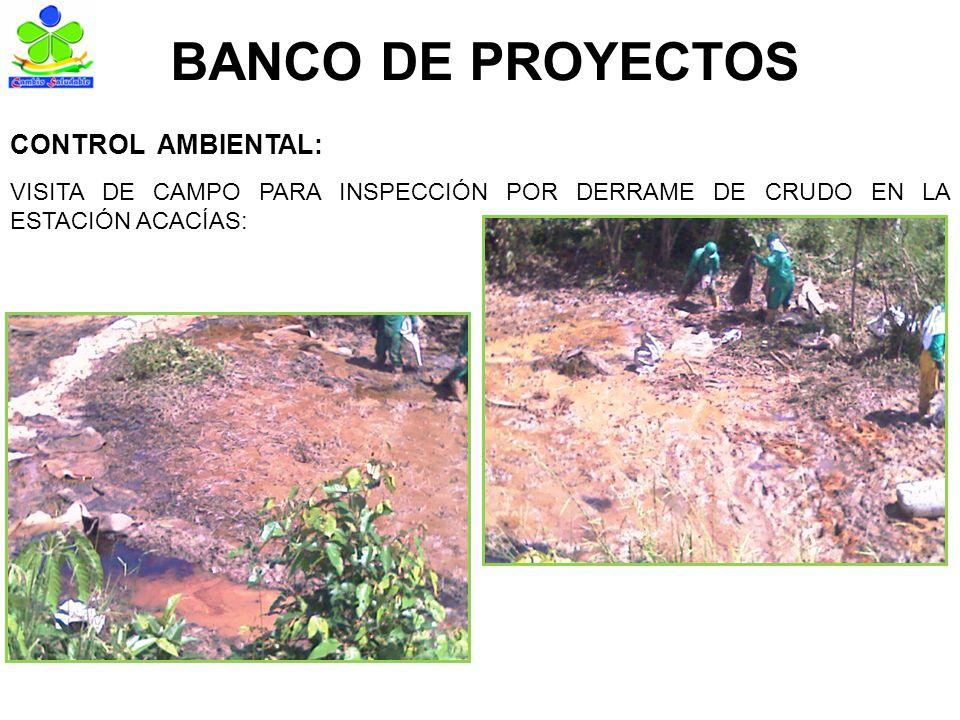 BANCO DE PROYECTOS VISITA DE CAMPO PARA INSPECCIÓN POR DERRAME DE CRUDO EN LA ESTACIÓN ACACÍAS: CONTROL AMBIENTAL: