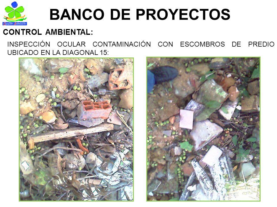 BANCO DE PROYECTOS INSPECCIÓN OCULAR CONTAMINACIÓN CON ESCOMBROS DE PREDIO UBICADO EN LA DIAGONAL 15: CONTROL AMBIENTAL: