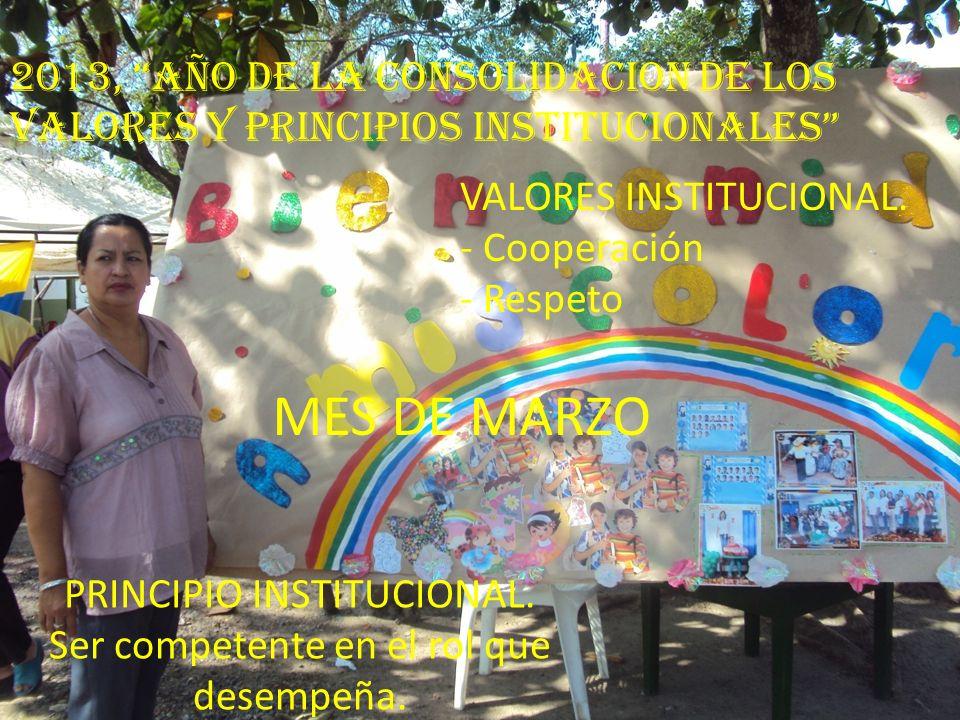 2013, AÑO DE LA CONSOLIDACION DE LOS VALORES Y PRINCIPIOS INSTITUCIONALES VALORES INSTITUCIONAL. - Cooperación - Respeto PRINCIPIO INSTITUCIONAL. Ser