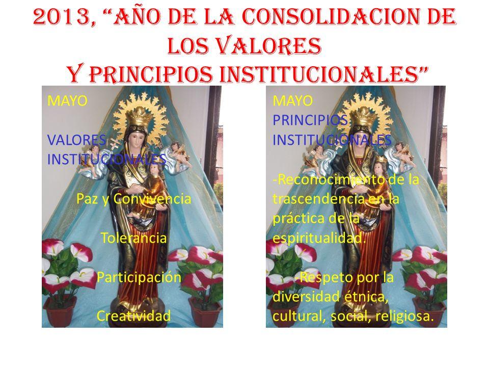 2013, AÑO DE LA CONSOLIDACION DE LOS VALORES Y PRINCIPIOS INSTITUCIONALES MAYO PRINCIPIOS INSTITUCIONALES -Reconocimiento de la trascendencia en la pr