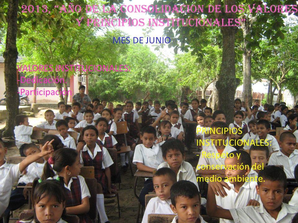 2013, AÑO DE LA CONSOLIDACION DE LOS VALORES Y PRINCIPIOS INSTITUCIONALES VALORES INSTITUCIONALES: -Dedicación. -Participación PRINCIPIOS INSTITUCIONA