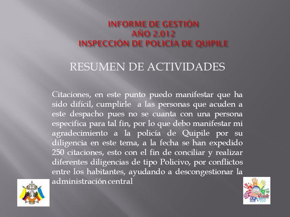 RESUMEN DE ACTIVIDADES ART. 2ºFunción de policía.de la ordenanza 14 del 2005.