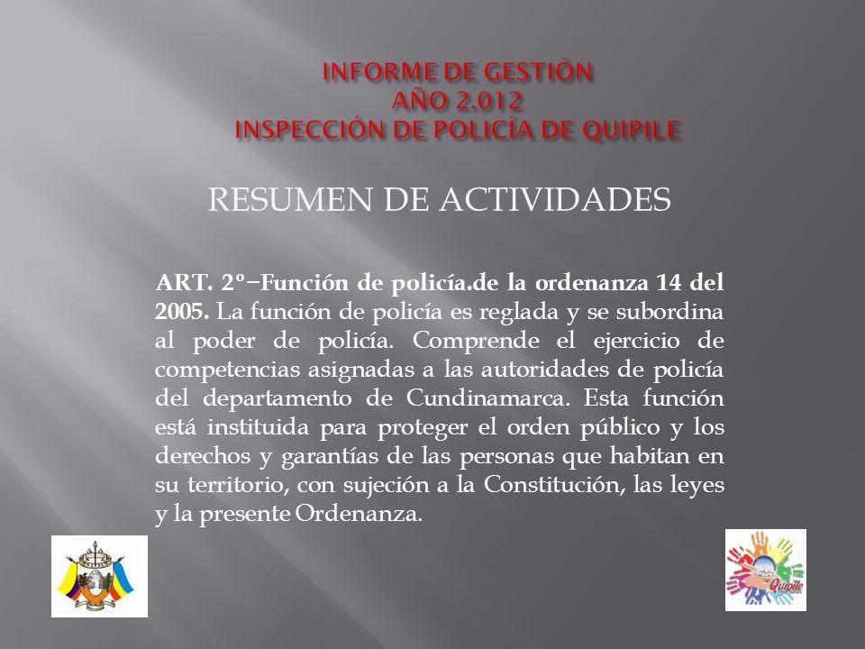 RESUMEN DE ACTIVIDADES ART.2ºFunción de policía.de la ordenanza 14 del 2005.