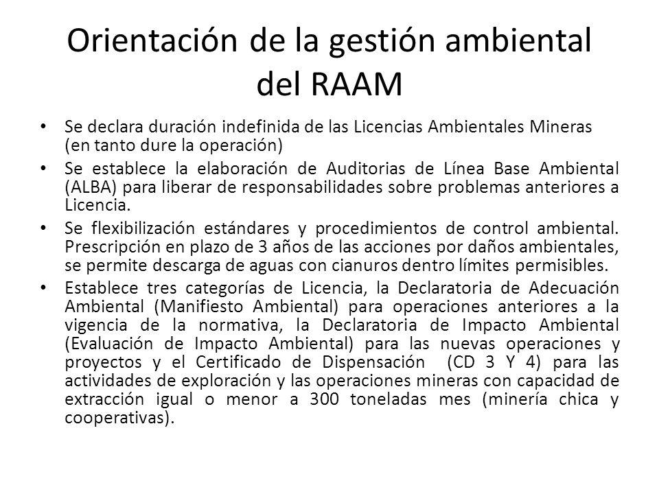 Orientación de la gestión ambiental del RAAM Se declara duración indefinida de las Licencias Ambientales Mineras (en tanto dure la operación) Se estab