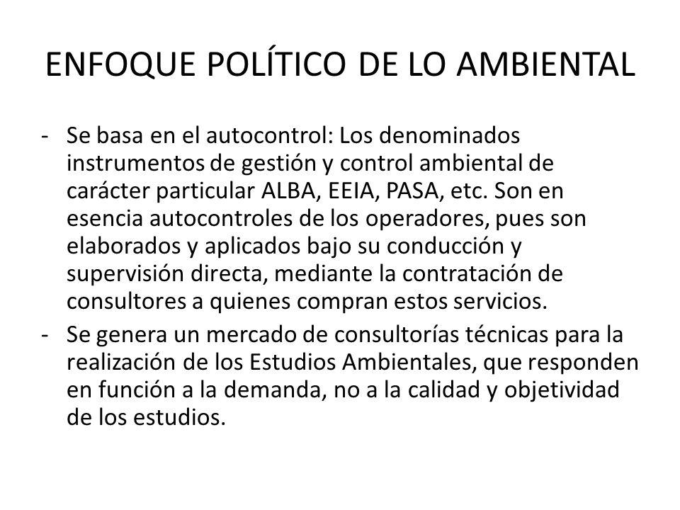 ENFOQUE POLÍTICO DE LO AMBIENTAL -Se basa en el autocontrol: Los denominados instrumentos de gestión y control ambiental de carácter particular ALBA,