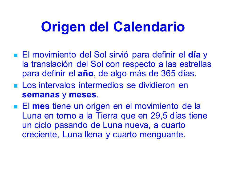 Origen del Calendario El movimiento del Sol sirvió para definir el día y la translación del Sol con respecto a las estrellas para definir el año, de a