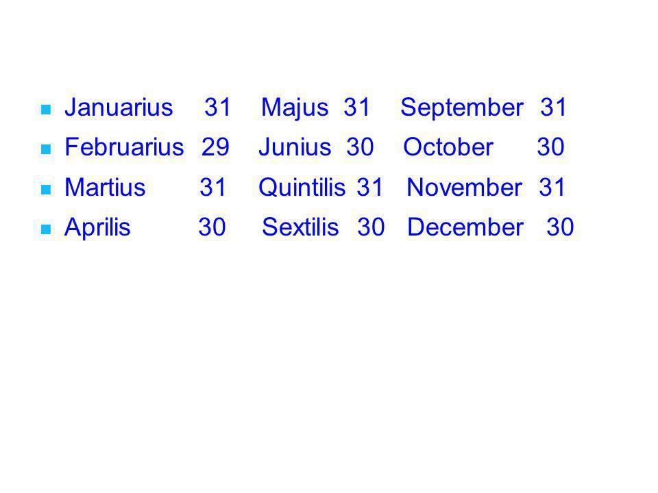 Januarius 31 Majus 31 September 31 Februarius 29 Junius 30 October 30 Martius 31 Quintilis 31 November 31 Aprilis 30 Sextilis 30 December 30 Januarius