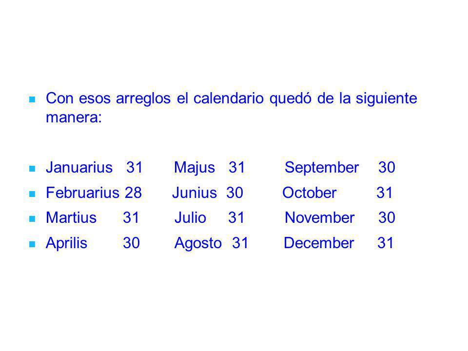 Con esos arreglos el calendario quedó de la siguiente manera: Januarius 31 Majus 31 September 30 Februarius 28 Junius 30 October 31 Martius 31 Julio 3