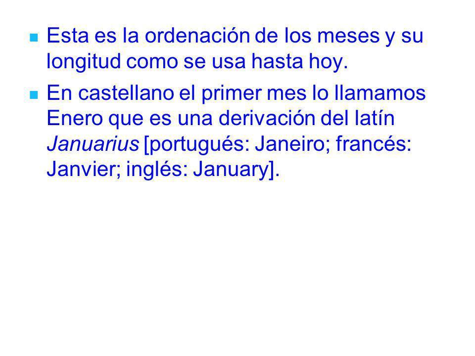Esta es la ordenación de los meses y su longitud como se usa hasta hoy. En castellano el primer mes lo llamamos Enero que es una derivación del latín