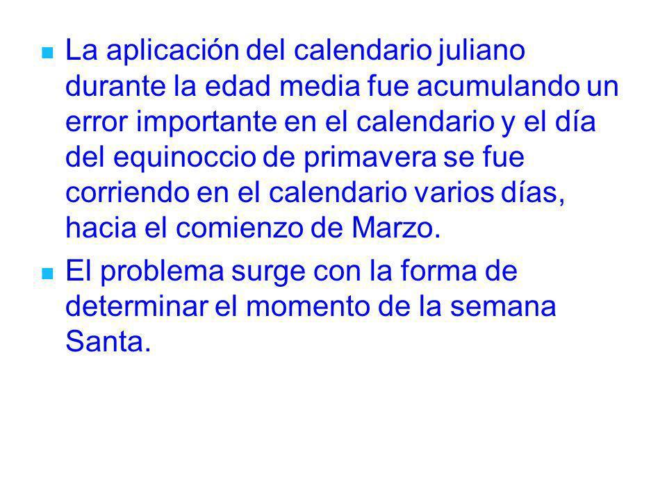 La aplicación del calendario juliano durante la edad media fue acumulando un error importante en el calendario y el día del equinoccio de primavera se