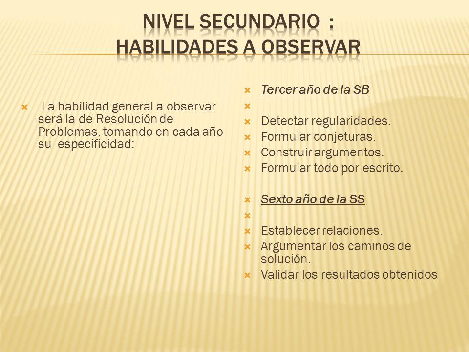 La habilidad general a observar será la de Resolución de Problemas, tomando en cada año su especificidad: Tercer año de la SB Detectar regularidades.