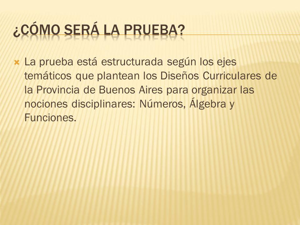 La prueba está estructurada según los ejes temáticos que plantean los Diseños Curriculares de la Provincia de Buenos Aires para organizar las nociones disciplinares: Números, Álgebra y Funciones.