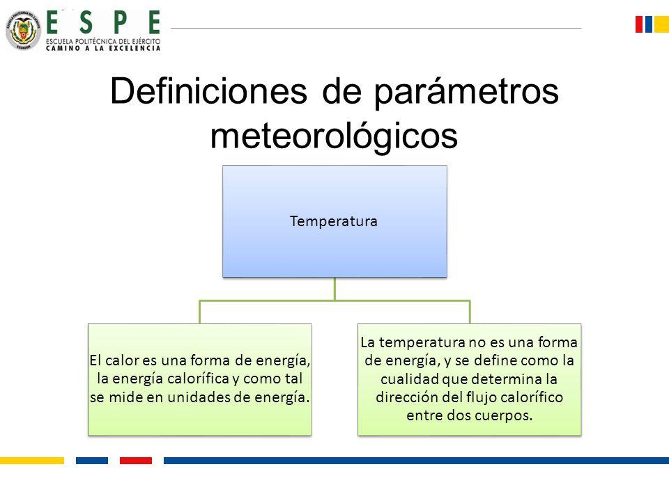 Definiciones de parámetros meteorológicos Temperatura El calor es una forma de energía, la energía calorífica y como tal se mide en unidades de energí