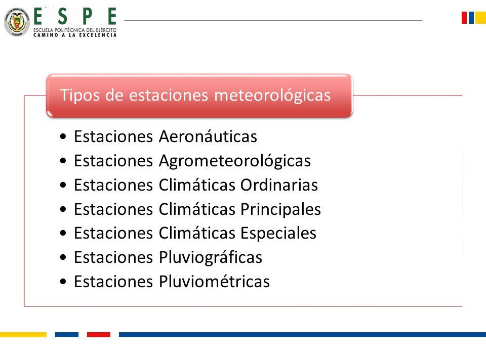 Estaciones Aeronáuticas Estaciones Agrometeorológicas Estaciones Climáticas Ordinarias Estaciones Climáticas Principales Estaciones Climáticas Especia