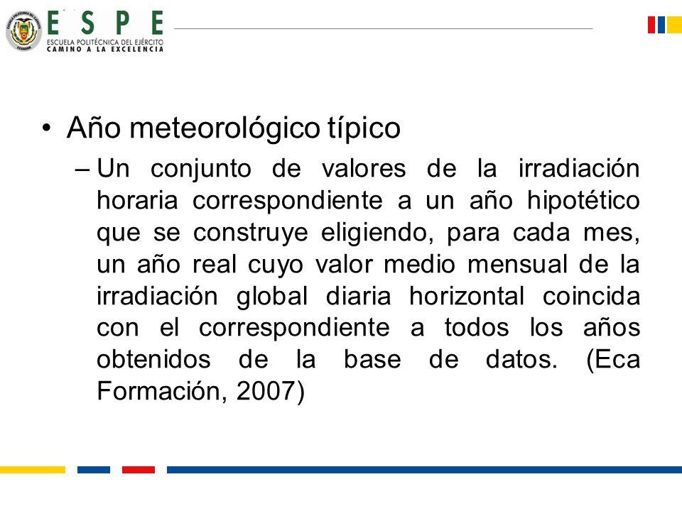 Año meteorológico típico –Un conjunto de valores de la irradiación horaria correspondiente a un año hipotético que se construye eligiendo, para cada m