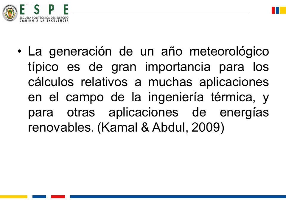 La generación de un año meteorológico típico es de gran importancia para los cálculos relativos a muchas aplicaciones en el campo de la ingeniería tér