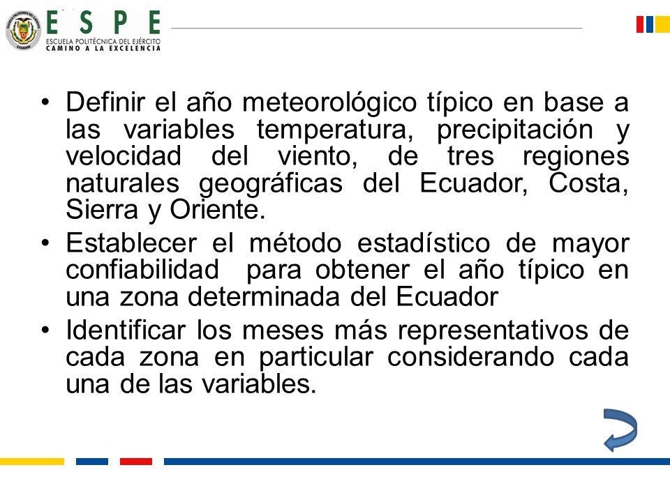 Definir el año meteorológico típico en base a las variables temperatura, precipitación y velocidad del viento, de tres regiones naturales geográficas