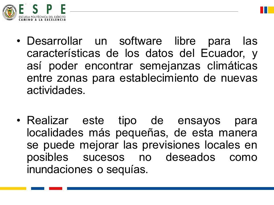 Desarrollar un software libre para las características de los datos del Ecuador, y así poder encontrar semejanzas climáticas entre zonas para establec