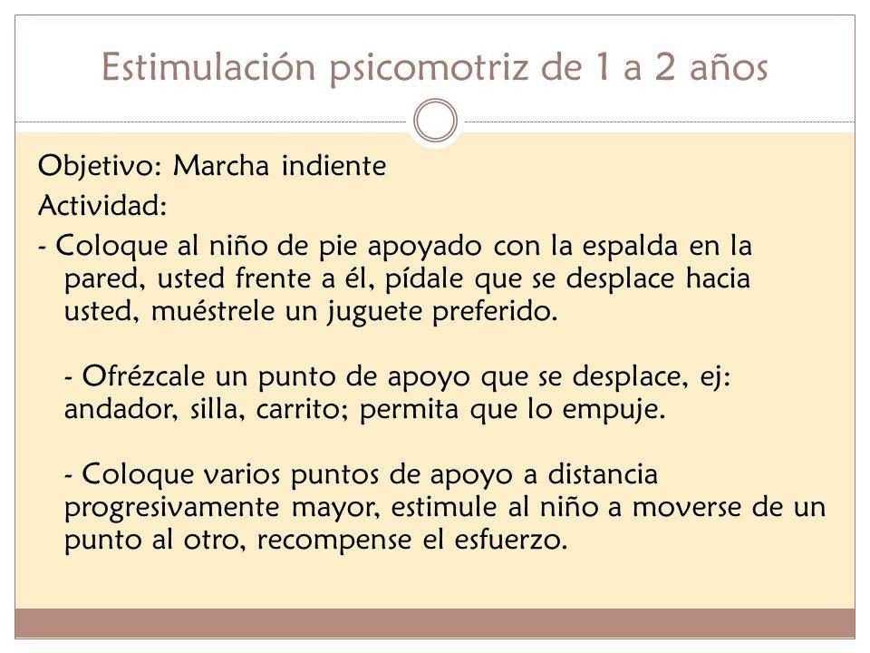 Estimulación psicomotriz de 1 a 2 años Objetivo: Marcha indiente Actividad: - Coloque al niño de pie apoyado con la espalda en la pared, usted frente