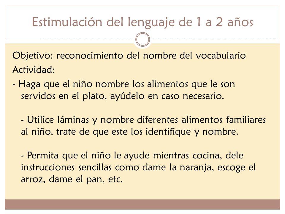 Estimulación del lenguaje de 1 a 2 años Objetivo: reconocimiento del nombre del vocabulario Actividad: - Haga que el niño nombre los alimentos que le