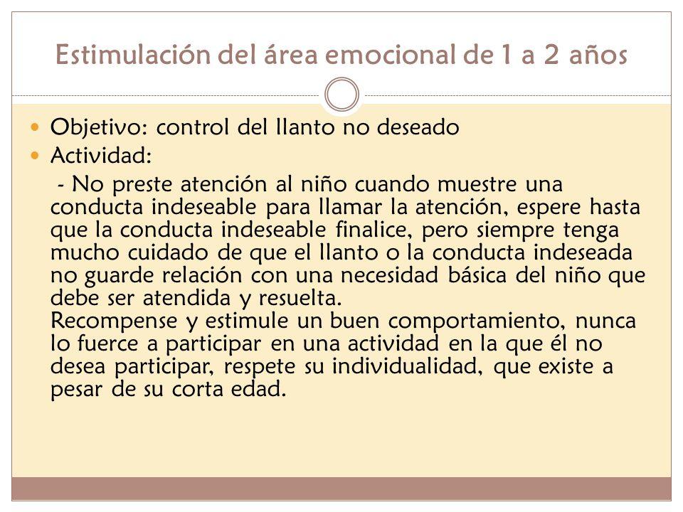 Estimulación del área emocional de 1 a 2 años Objetivo: control del llanto no deseado Actividad: - No preste atención al niño cuando muestre una condu