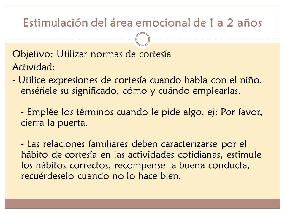 Estimulación del área emocional de 1 a 2 años Objetivo: Utilizar normas de cortesía Actividad: - Utilice expresiones de cortesía cuando habla con el n