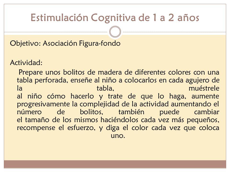 Estimulación Cognitiva de 1 a 2 años Objetivo: Asociación figura-fondo Actividad: - Emplée un rompecabezas de figuras, si no lo hay usted mismo puede hacerlo, solo tome una tabla o una pieza de cartón y dibuje y cale tres figuras: un círculo, un cuadrado y un triángulo; deben ser grandes y de colores diferentes.