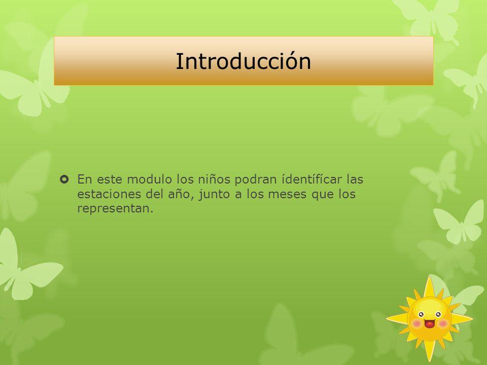 Introducción En este modulo los niños podran ídentífícar las estaciones del año, junto a los meses que los representan.