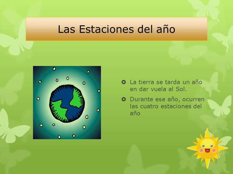 Las Estaciones del año La tierra se tarda un año en dar vuela al Sol.