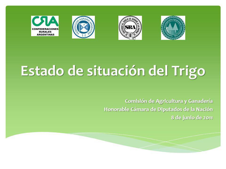 Estado de situación del Trigo Comisión de Agricultura y Ganadería Honorable Cámara de Diputados de la Nación 8 de junio de 2011