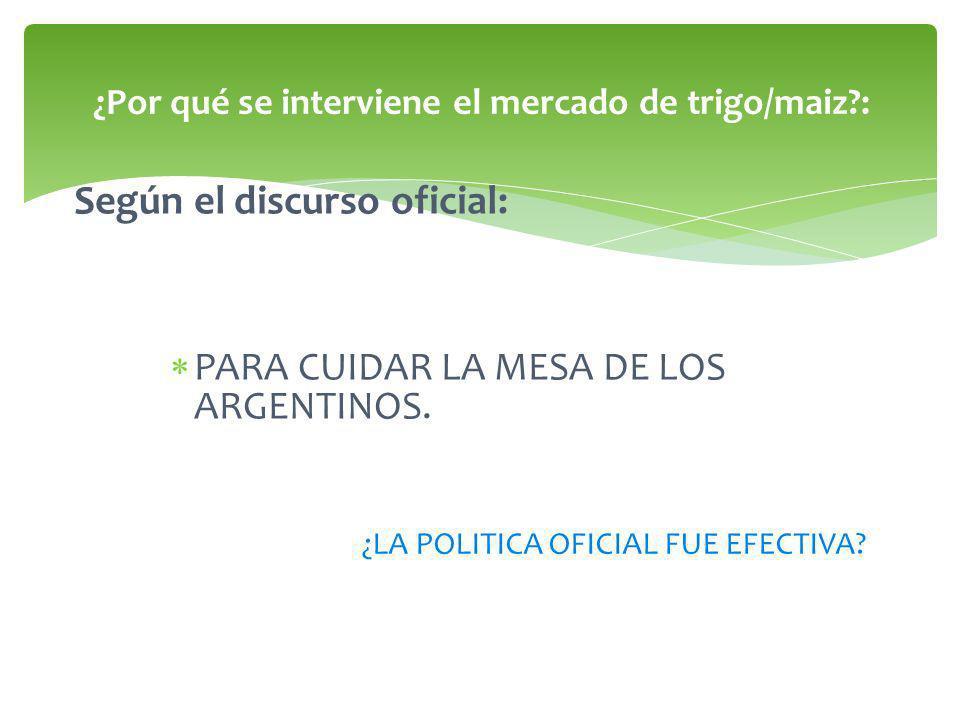 Según el discurso oficial: PARA CUIDAR LA MESA DE LOS ARGENTINOS.