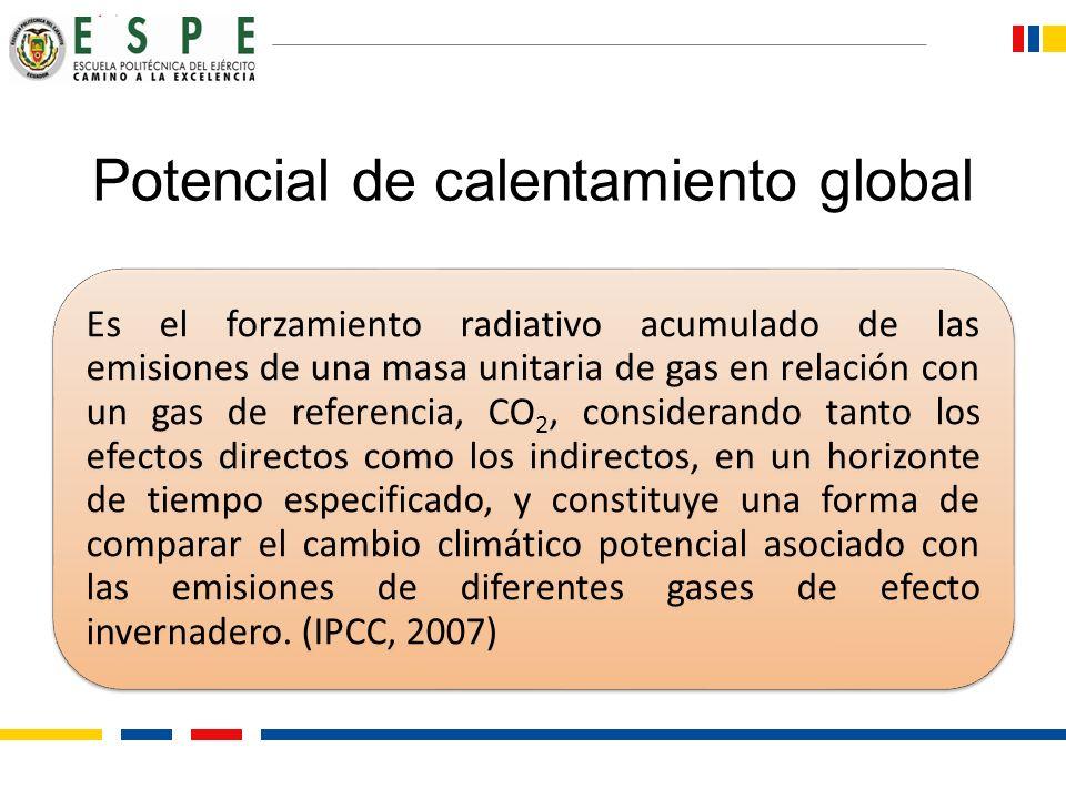 Potencial de calentamiento global Es el forzamiento radiativo acumulado de las emisiones de una masa unitaria de gas en relación con un gas de referen