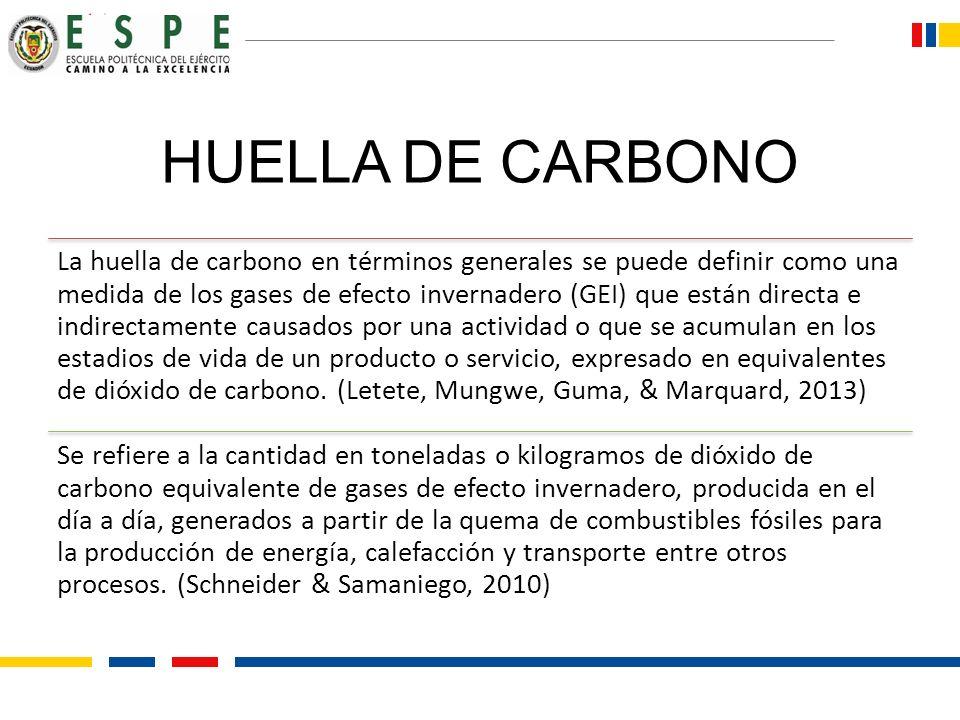 HUELLA DE CARBONO La huella de carbono en términos generales se puede definir como una medida de los gases de efecto invernadero (GEI) que están direc
