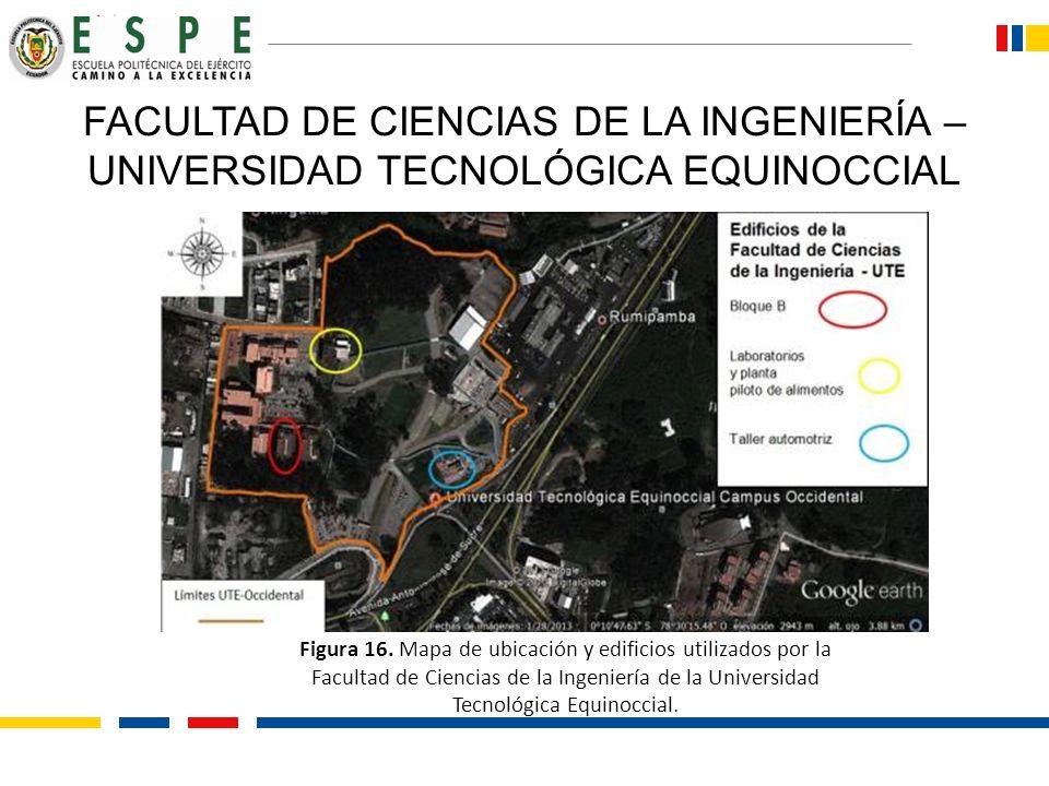 FACULTAD DE CIENCIAS DE LA INGENIERÍA – UNIVERSIDAD TECNOLÓGICA EQUINOCCIAL Figura 16. Mapa de ubicación y edificios utilizados por la Facultad de Cie