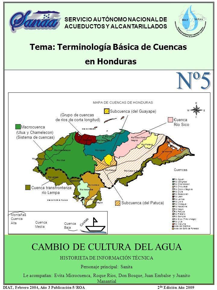 SERVICIO AUTÓNOMO NACIONAL DE ACUEDUCTOS Y ALCANTARILLADOS Tema: Terminología Básica de Cuencas en Honduras CAMBIO DE CULTURA DEL AGUA HISTORIETA DE I