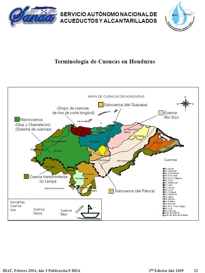 Terminología de Cuencas en Honduras SERVICIO AUTÓNOMO NACIONAL DE ACUEDUCTOS Y ALCANTARILLADOS DIAT, Febrero 2004, Año 3 Publicación 5/ ROA 2 da Edici