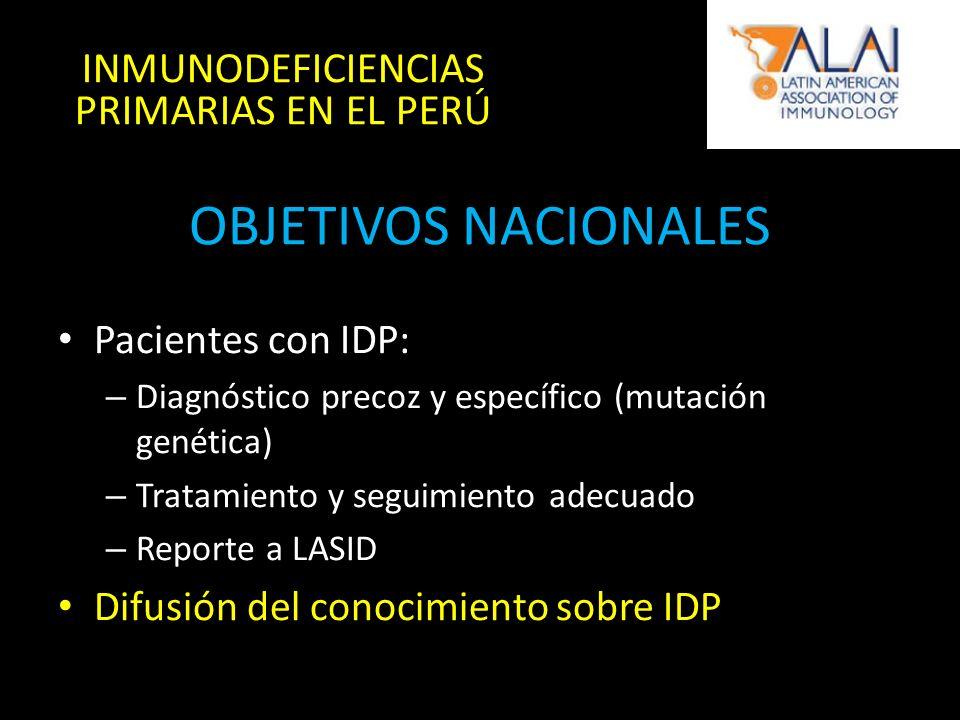 OBJETIVOS NACIONALES Pacientes con IDP: – Diagnóstico precoz y específico (mutación genética) – Tratamiento y seguimiento adecuado – Reporte a LASID Difusión del conocimiento sobre IDP INMUNODEFICIENCIAS PRIMARIAS EN EL PERÚ