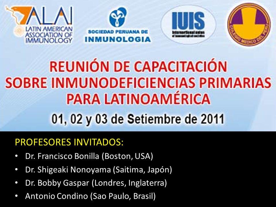 PROFESORES INVITADOS: Dr. Francisco Bonilla (Boston, USA) Dr.