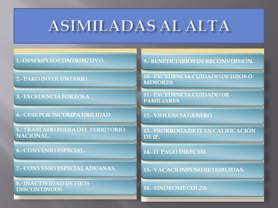 1.-DESEMPLEO CONTRIBUTIVO. 2.- PARO INVOLUNTARIO. 3.- EXCEDENCIA FORZOSA 4.- CESE POR INCOMPATIBILIDAD. 5.- TRASLADO FUERA DEL TERRITORIO NACIONAL. 6.