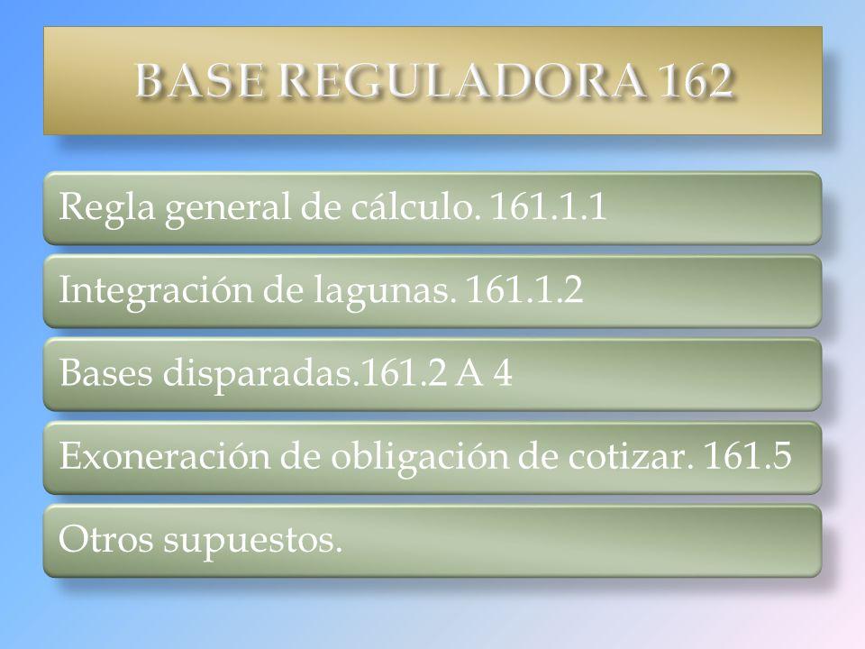 Regla general de cálculo. 161.1.1Integración de lagunas. 161.1.2Bases disparadas.161.2 A 4Exoneración de obligación de cotizar. 161.5Otros supuestos.
