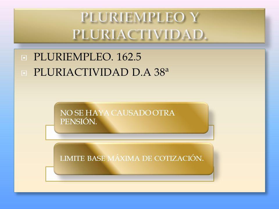 PLURIEMPLEO. 162.5 PLURIACTIVIDAD D.A 38ª PLURIEMPLEO. 162.5 PLURIACTIVIDAD D.A 38ª NO SE HAYA CAUSADO OTRA PENSIÓN. LIMITE BASE MÁXIMA DE COTIZACIÓN.