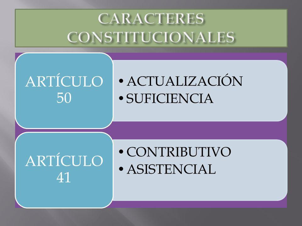 ACTUALIZACIÓN SUFICIENCIA ARTÍCULO 50 CONTRIBUTIVO ASISTENCIAL ARTÍCULO 41