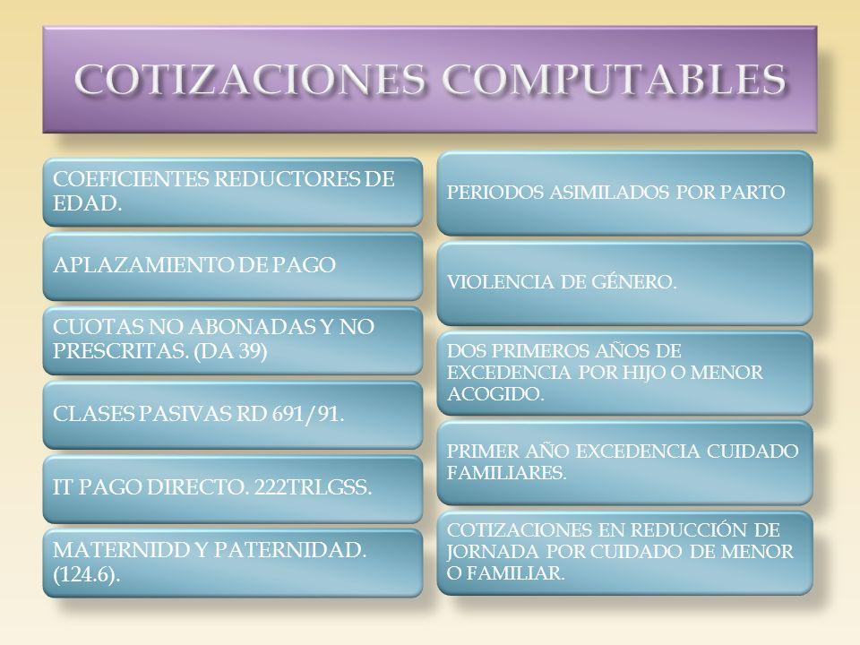 COEFICIENTES REDUCTORES DE EDAD. APLAZAMIENTO DE PAGO CUOTAS NO ABONADAS Y NO PRESCRITAS. (DA 39) CLASES PASIVAS RD 691/91.IT PAGO DIRECTO. 222TRLGSS.
