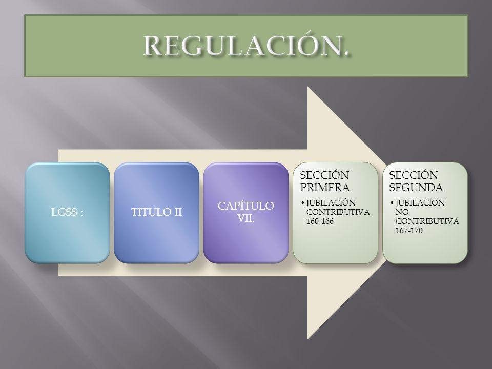 LGSS :TITULO II CAPÍTULO VII. SECCIÓN PRIMERA JUBILACIÓN CONTRIBUTIVA 160-166 SECCIÓN SEGUNDA JUBILACIÓN NO CONTRIBUTIVA 167-170