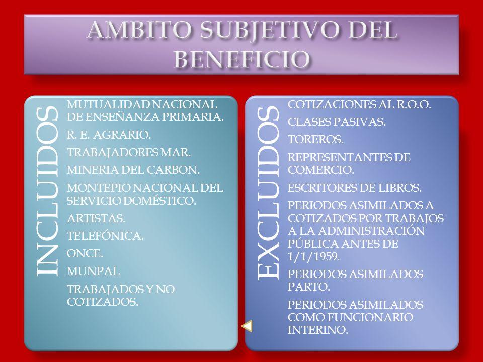 INCLUIDOS MUTUALIDAD NACIONAL DE ENSEÑANZA PRIMARIA. R. E. AGRARIO. TRABAJADORES MAR. MINERIA DEL CARBON. MONTEPIO NACIONAL DEL SERVICIO DOMÉSTICO. AR