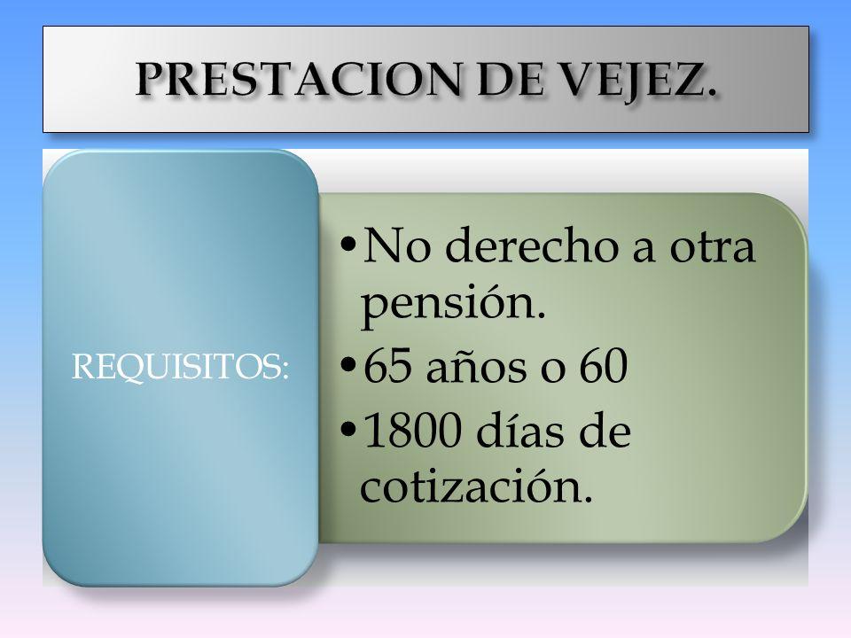 No derecho a otra pensión. 65 años o 60 1800 días de cotización. REQUISITOS: