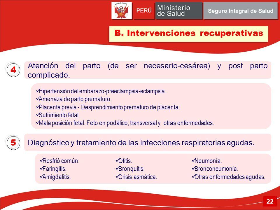 Atención del parto (de ser necesario-cesárea) y post parto complicado. Diagnóstico y tratamiento de las infecciones respiratorias agudas. 4 5 B. Inter